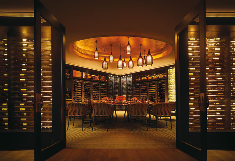 One&Only Hayman Island Dining Fire Wine Wall